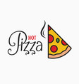 hot pizza logo pizza slice on white background vector image