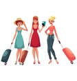 hree girls in dress and jeans travelling vector image vector image