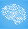 human brain isolated on a blue background vector image vector image
