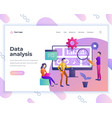 landing page template data analysis concept with vector image vector image