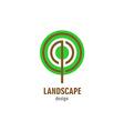 Landscape design logo Round stylized tree symbol vector image vector image