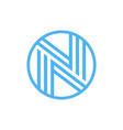 letter n logo circle shape symbol green and blue vector image