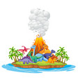 many dinosaur in the island vector image vector image