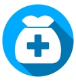 Medical Capital Flat Round Icon with Long Shadow vector image