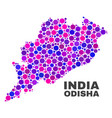 mosaic odisha state map of spheric elements vector image vector image