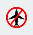 no airplane icon stop symbol vector image