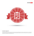 ok rpeort icon - red ribbon banner vector image