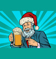 old man in a christmas cap with a mug foam beer vector image vector image
