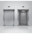 Open and closed chrome metal elevator doors vector image vector image