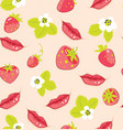 pattern with strawberry and lips vector image vector image
