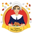 pilgrim woman holding a roasted turkey vector image vector image