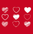 red hearts symbol set isolated background vector image vector image