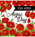 red poppy flowers anzac day vector image vector image