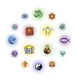 religion comics icons set vector image vector image