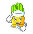 sailor green cereus cactus on character cartoon vector image