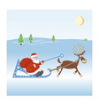 santa-claus with a big bag of gifts on sleigh vector image vector image