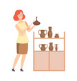 scientist archaeologist examining ancient vessels vector image vector image