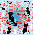 seamless festive pattern with lovers cats vector image vector image