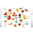 set coffee and cake vector image vector image