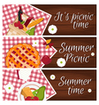 Set of banners with wooden desk with picnic basket vector image vector image