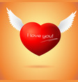 Soaring red heart with wings vector image vector image
