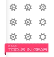 tools in gear icon set vector image vector image