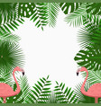 tropical poster with jungle palm leaves flamingo vector image vector image