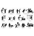violence violent crime and criminal pictogram vector image