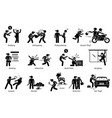 violence violent crime and criminal pictograph vector image