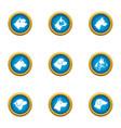 wolfhound icons set flat style vector image
