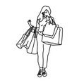 woman holding shopping bags closing her face vector image