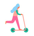 woman riding on scooter vehicle as recreation icon vector image vector image