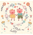 You make me happy romantic card with cute pigs vector image vector image