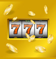 realistic slot machine with gold coins vector image