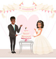 cartoon caucasian bride and afro-american groom vector image