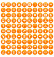 100 pointers icons set orange vector image vector image