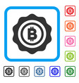 bitcoin seal stamp framed icon vector image vector image