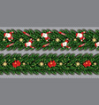 border set with santa claus christmas tree vector image