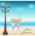Boy and girl kissing Summer background vector image