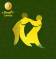 Brazil summer sport card with two abstract yellow vector image