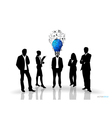 Bulb headed man and business people silhouettes vector image vector image