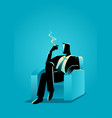 businessman sitting comfortable in the sofa while vector image vector image