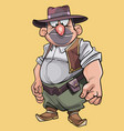 cartoon character bellied male cowboy in hat vector image