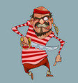 cartoon funny aggressive man in pirate clothes vector image