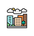 city town countryside landscape flat color line vector image vector image
