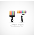 Colorful paint brush and paint roller icons