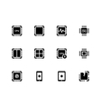 CPU icons set central processing unit vector image