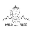 cute bear on mountains background and wild vector image
