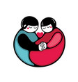 Cute couple icon in flat style