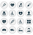 drug icons set collection of polyclinic rhythm vector image vector image